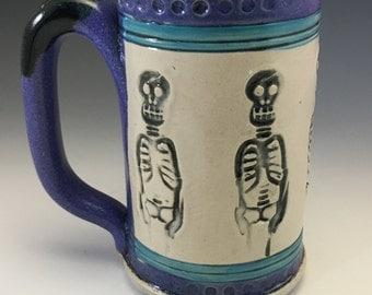 Skeleton, Mug, Dia de los Muertos, Day of the Dead, Skeleton Mug, Halloween Mug, Grateful Dead, Stoneware, Skeleton Mug, Unique Mug