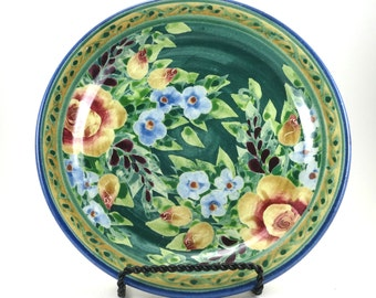 Green Ceramic Plate - Handmade Floral Pottery Platter - Rose Design with Blue Flowers - OOAK Collectible