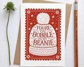 Beanie Christmas Card | Luxury Greetings Cards | Fine Art Cards | Scandinavian Christmas Card | Eco Friendly Christmas Card