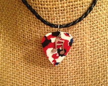 Red White and Blue Guitar Pick Treble Clef Charm Black Braided Leather Necklace