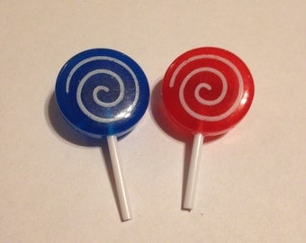 Choose Your Color Blue or Red Lollipop Brooches