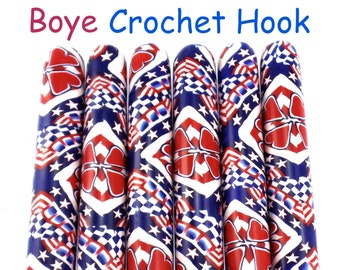 Crochet Hook, Patriotic Boye Polymer Clay Covered Crochet Hooks, Custom Crochet Needle, Crochet Hook Size B-N