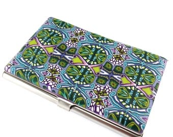Blue, Green, Purple Polymer Clay Business Card  Case