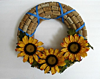 Wine Cork Wreath - Sunflowers and Blue Ribbon - Spring, Summer Wreath - Home Wall Decor