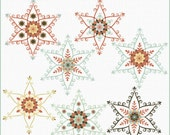 Nordic snowflakes clipart, Christmas clipart, Winter clipart, folk clipart for commercial use, royalty free clipart, P196