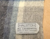Halston Scarf Lambswool Vintage Blue, Gray Toasty Stylish Vintage Unisex Scarf Made in West Germany