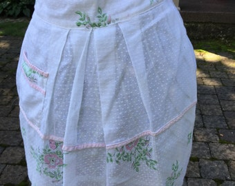 Pink Flowers on Dotted Swiss Apron Vintage Kitchen Cottage Chic Small Apron