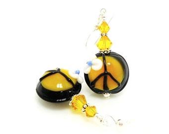 Peace Sign Earrings, Groovy Earrings, Lampwork Earrings, Glass Earrings, Hippie Earrings, Funky Earrings, Beadwork Earrings, Orange Earrings