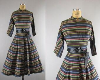 1950s Vintage Dress l 50s Multicolored Stripe Fit & Flare Dress