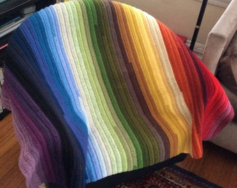 Hand crocheted afghan in multi color Acrylic