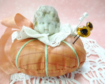 Sew Darling  Porcelain Figurine Doll Head Altered Art Vintage Sewing Tomato Pincushion Whimsey Decoration Keepsake