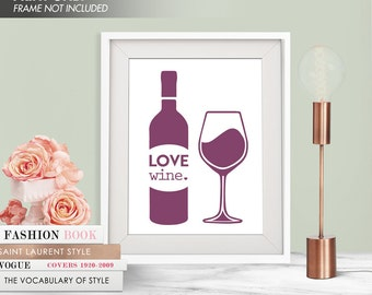 LOVE WINE - Art Print (Featured in Plum) Love Alcohol Art Print and Poster Collection