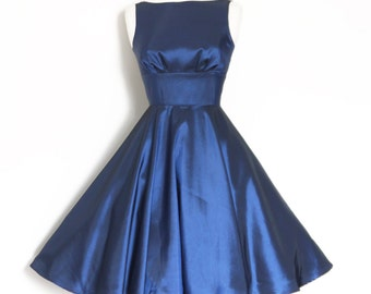 UK Size 8 MIdnight Blue Taffeta Tiffany Evening Dress  - Made by Dig For Victory