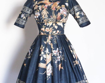 Midnight Blue Forest Bird Print Prom Dress - Made by Dig For Victory