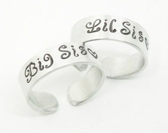 Sisters rings - Sister gifts - Big Sis ring Lil Sis ring - Big Sister Little Sister rings - Gifts for sisters - Sister jewelry