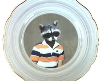 "Ryan the Raccoon School Portrait - Altered Vintage Plate 10.75"""
