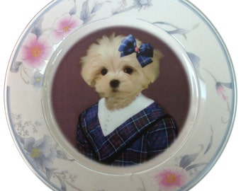 Maggie Maltese, School Portrait Plate - Altered Vintage Plate 7.6""