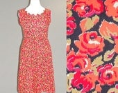 SALE 50s Dress, Plus Size 1950s Dress, Red Roses Dress, 50s Cotton Day Dress XL