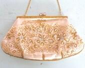 Vintage Beaded Handbag Evening Purse, Marshall Field & Company Silk Embellished Wedding Purse