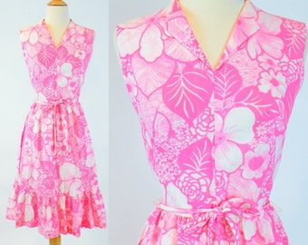 Vintage 60s Dress, 1960s Floral Sundress, Pink & White Summer Dress Small