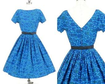 50s Floral Dress, 1950s Rockabilly Dress, Jonathan Logan Blue Cotton Full Skirt Dress, XS