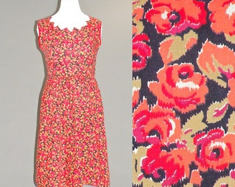 50s Dress, Plus Size 1950s Cotton Dress, Red Roses Print Vintage Day Dress L XL