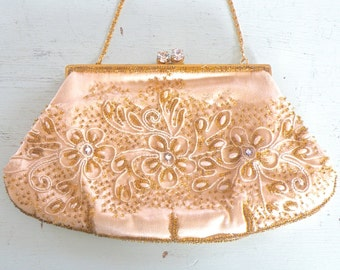 Vintage Beaded Handbag Evening Purse, Marshall Field & Company Silk Embellished Wedding Purse