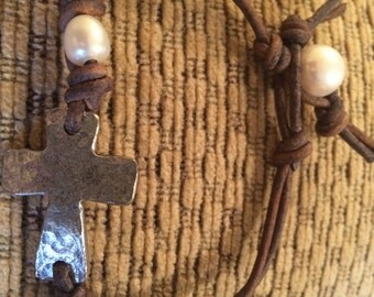 Leather and pearl cross bracelet