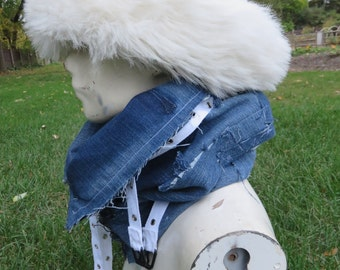 Blue jean zippered, cowl, neck warmer, patchwork, upcycled