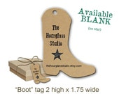 Cowgirl Boot Tag- 0150- Custom Country Tag-  Product Tag- Gift Tag- Western Tag- Jewelry Display Tag Necklace Tag Bracelet Tag Custom Tag