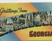 Greetings From Savannah Georgia 1947 Large Letter linen postcard