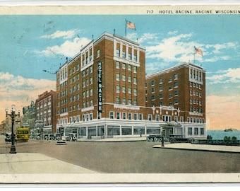 Hotel Racine Wisconsin 1930 postcard