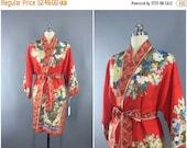 SALE 30% OFF - Vintage 1930s Silk Kimono Robe / Silk Robe / 30s Silk Wrapper / Flapper Dressing Gown / Art Deco / Tomato Red Orange Floral