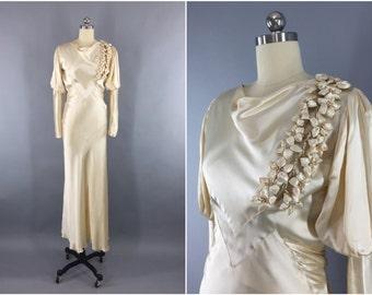 Vintage 1930s Wedding Dress / 30s Bias Cut Dress / 1930 Art Deco / Ivory Champagne Satin Gown