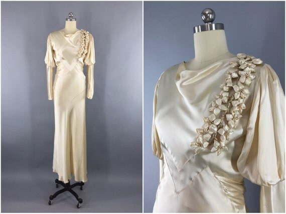 1930s Wedding Gowns: Vintage 1930s Wedding Dress / 30s Bias Cut Dress / 1930 Art