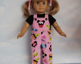 18 inch doll clothes - #605 Cupcake Bibs and TShirt handmade to fit American Girl Doll - FREE SHIPPING