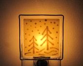 Vanilla Eggnog Fused Glass Night Light Snow Forest Nightlight Handmade OOAK
