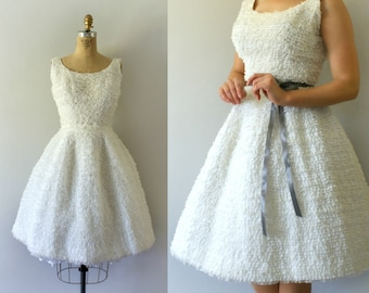 Vintage 1950s Dress - 50s Couture White Ruffled Lace Dress - 1950s Wedding Dress