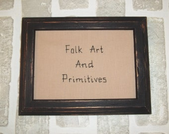 UNFRAMED Stitchery Picture Folk Art And Primitives Home Decor Black and Tan 5x7 Inch Hand Stitched Embroidery Shelf Sitter Tuck wvluckygirl