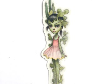 Cactus Girl- vinyl silkscreen sticker - by Mab Graves - cactus girl prickly armor decal