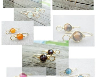 Gemstone Ear Wires, Many Stone Choices Choose from Sterling Silver/Copper/Oxidized Copper/Brass