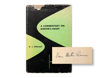 """Alvin Lustig book jacket design, 1949. """"A Commentary on Goethe's Faust"""" by D. J. Enright. SIGNED by the Van Meter Ames. [New Directions]"""