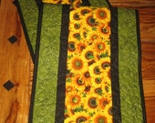 Yellow Sunflowers Quilted Tablerunner, Fall Table Runner, Sunflower Ladybug Runner, Autumn Table Decor, Reversible, Handmade Tahoe Quilts