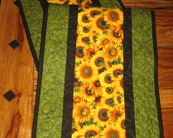 Yellow Sunflowers Quilted Table runner, Fall Table Runner, Sunflower Ladybug Runner, Autumn Table Decor, Reversible, Handmade Tahoe Quilts