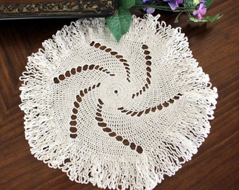 Crochet Spiral Doily, Small Centerpiece in White, Hand Crocheted, Vintage Linens - 13350