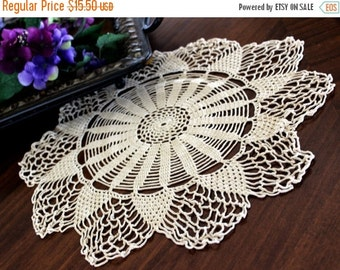 Crochet Doily or Tray Cloth - Dark Ecru or Tea Dyed - Hand Crocheted Lace - 13368