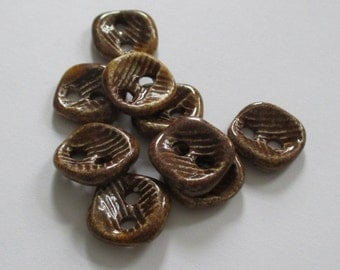 Warm Brown Square Ceramic Buttons