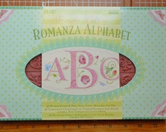 Romanza Alphabet set Floral Alphabet Rubber Stamps by All Night Media 2002