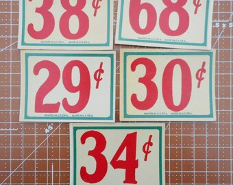 Vintage Store Price Tags set of 5  Lot 13