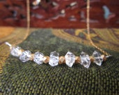 Herkimer Diamond Necklace Gold Filled Genuine Crystal Gemstone Necklace